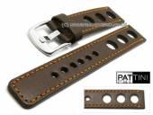 Uhrenarmband 19mm dunkelbraun Leder Racing-Look robust matt orangfarbene Naht von PATTINI (Schließenanstoß 20 mm)