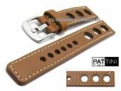 Uhrenarmband 19mm hellbraun Leder Racing-Look robust matt helle Naht von PATTINI (Schließenanstoß 20 mm)