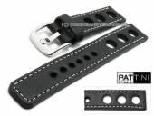 Uhrenarmband 19mm schwarz Leder Racing-Look robust matt helle Naht von PATTINI (Schließenanstoß 20 mm)
