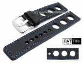 Uhrenarmband 24mm schwarz Leder Racing-Look robust matt blaue Naht von PATTINI (Schließenanstoß 24 mm)