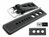 Uhrenarmband 26mm schwarz Leder Racing-Look robust matt helle Naht von PATTINI (Schließenanstoß 26 mm)