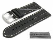 Uhrenarmband 26mm schwarz Büffelleder Military-Look helle Naht (Schließenanstoß 24 mm)