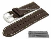 Uhrenarmband 26mm dunkelbraun Büffelleder Military-Look helle Naht (Schließenanstoß 24 mm)