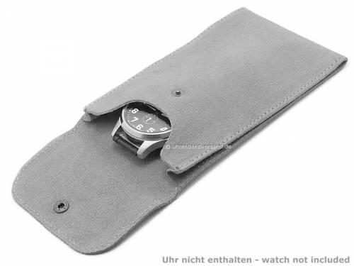 Uhrentasche groß schwarz für 1 Armbanduhr echt Leder von PergherMilano - Bild vergrößern
