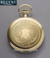 Savonette-Taschenuhr Quarz Gehäuse vergoldet teilpoliert Ziffernblatt silber von Regent (*RG*TU*)