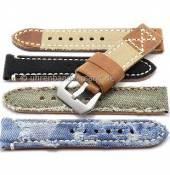 Rustikale Uhrenarmbänder im Vintage-Look aus Leder/Textil in diversen Ausführungen aus der Rock!t Kollektion