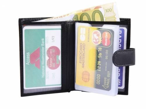 Kartenetui weiches Leder schwarz mit Geldscheinfach Druckknopfverschluß - Bild vergrößern