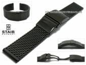 Uhrenarmband 20mm kurz Milanaise schwarz grobes Geflecht poliert Sicherheitsfaltschließe von STAIB