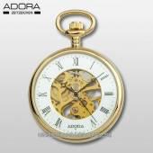 Mechanische Lepine-Taschenuhr goldfarben Ziffernblatt weiß teilweise skelettiert von Adora (*AD*TU*)