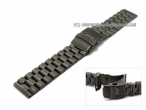 Schwarze Edelstahl-Uhrenarmbänder in diversen Ausführungen - Bild vergrößern