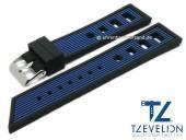 Uhrenarmband 24mm schwarz/blau Silikon Racing-Look matt von TZEVELION (Schließenanstoß 22 mm)