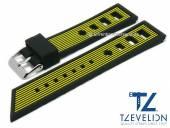 Uhrenarmband 24mm schwarz/gelb Silikon Racing-Look matt von TZEVELION (Schließenanstoß 22 mm)