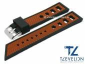 Uhrenarmband 24mm schwarz/orange Silikon Racing-Look matt von TZEVELION (Schließenanstoß 22 mm)