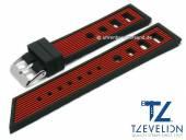 Uhrenarmband 24mm schwarz/rot Silikon Racing-Look matt von TZEVELION (Schließenanstoß 22 mm)