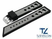 Uhrenarmband 24mm schwarz/weiß Silikon Racing-Look matt von TZEVELION (Schließenanstoß 22 mm)
