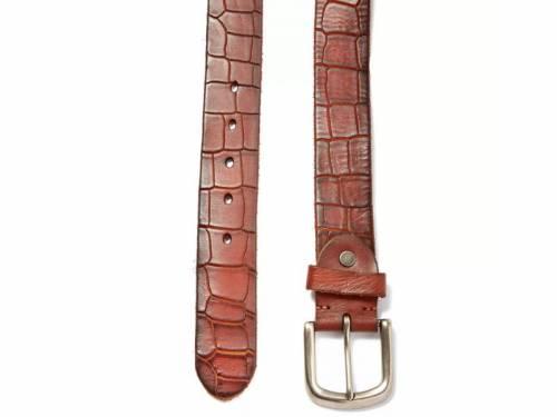 Hochwertiger Ledergürtel rotbraun Krokodilprägung - Größe 115 (Breite ca. 4cm) - Bild vergrößern