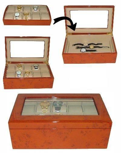 uhrenbox exclusiv 10 armbanduhren wurzelholz. Black Bedroom Furniture Sets. Home Design Ideas