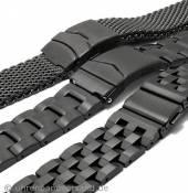 Schwarze Edelstahl-Uhrenarmbänder in diversen Ausführungen