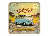 Deko-Untersetzer-Set 5teilig VW Bulli - Let's Get Lost Retro-Style blau/orange von Nostalgic-Art