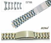 Multi-Anstoßband 18-22mm Edelstahl bicolor ROWI Wechselanstoß rund/gerade sportliches Design