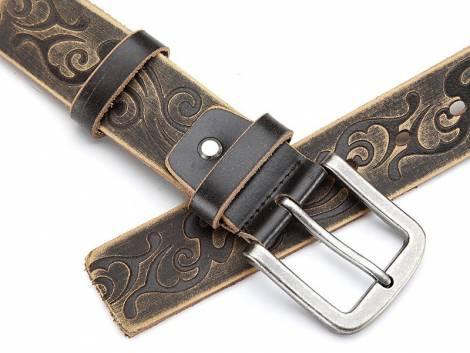 Ledergürtel braun im Vintage-Look mit Motiv-Print - Bundlänge 115cm (Breite ca. 4cm) - Bild vergrößern