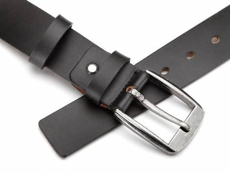 Ledergürtel schwarz glatt ohne Naht - Bundlänge 115cm (Breite ca. 4cm) - Bild vergrößern