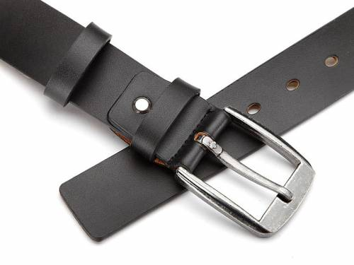 Ledergürtel schwarz glatt ohne Naht - Größe 115 (Breite ca. 4 cm) - Bild vergrößern
