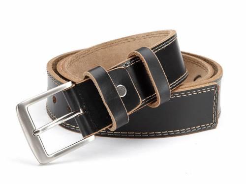 Ledergürtel schwarz glatt mit Doppelnaht - Größe 95 (Breite ca. 4 cm) - Bild vergrößern