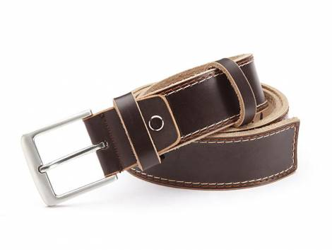 Ledergürtel dunkelbraun glatt mit Doppelnaht - Größe 105 (Breite ca. 4 cm) - Bild vergrößern
