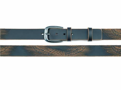 Ledergürtel schwarz Vintage-Look mit Adler-Print - Größe 115 (Breite ca. 4 cm) - Bild vergrößern