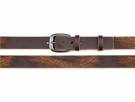 Ledergürtel dunkelbraun im Vintage-Look mit Adler-Print - Bundlänge 115cm (Breite ca. 4cm) - Bild vergrößern