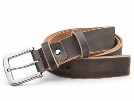 Ledergürtel dunkelbraun im Vintage-Look - Bundlänge 125cm - Bild vergrößern