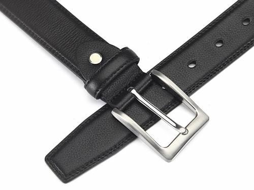 Anzug-Ledergürtel schwarz fein genarbt abgenäht - Größe 115 (Breite ca. 3,5 cm) - Bild vergrößern