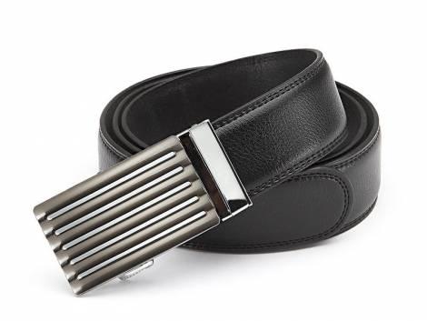 Ledergürtel schwarz fein genarbt abgenäht mit Automatikschließe anthrazit/silberfarben - Bundlänge 125cm(Breite ca. 4cm) - Bild vergrößern