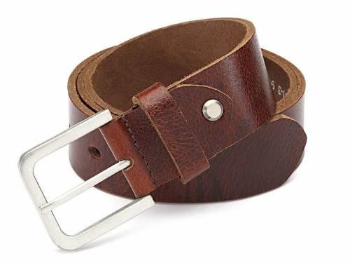 Büffel-Ledergürtel mittelbraun leichter Vintage-Look - Größe 115 (Breite ca. 4 cm) - Bild vergrößern