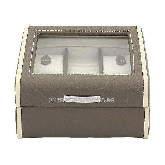uhren und schmuckkasten taupe beige echt leder f r bis zu 4 armbanduhren. Black Bedroom Furniture Sets. Home Design Ideas