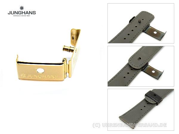 Klappschließe Junghans 20mm Edelstahl Goldfarben Poliert Für 019 7403 020 7320 025 4103 Etc