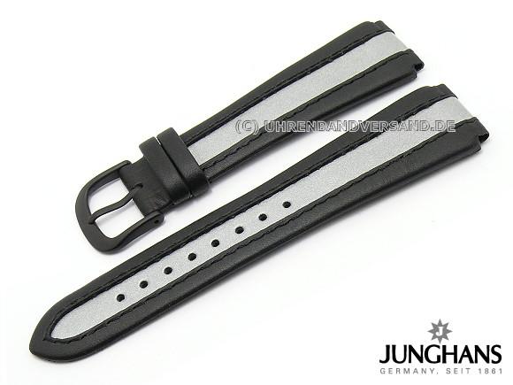 Ersatz Uhrenarmband Junghans 20mm Schwarz Silber Leder Glatt Mit Dornschließe Für 050 2992 Etc
