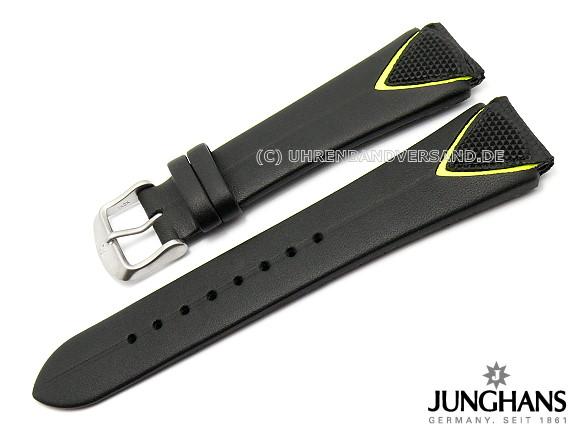 Ersatz Uhrenarmband Junghans 20mm Schwarz Leder Glatt Mit Dornschließe Für 051 2204 051 2201 Etc