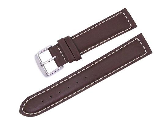 uhrenarmband 20mm dunkelbraun glatte oberfl che wei e naht schlie enansto 18 mm. Black Bedroom Furniture Sets. Home Design Ideas