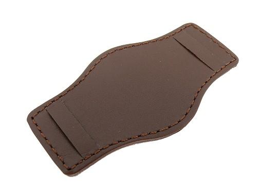 Lederunterlage für Uhrenarmbänder aus Leder 20-24mm dunkelbraun abgenäht