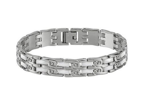 Schmuck-Armband Edelstahl/Keramik stahlfarben/weiß von MABRO Steel - Bandlänge ca. 21cm