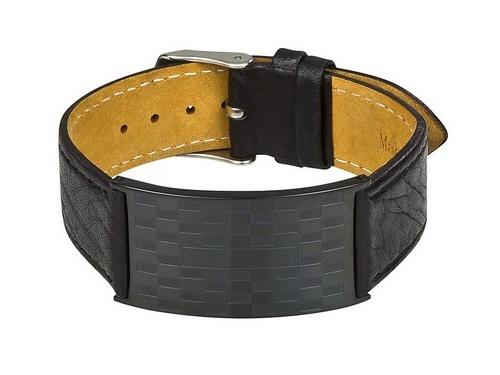 Leder-Uhrenarmband schwarz mit Schmuckplatte und Dornschließe als Schmuckband von MABRO Steel - Bandlänge ca. 22cm