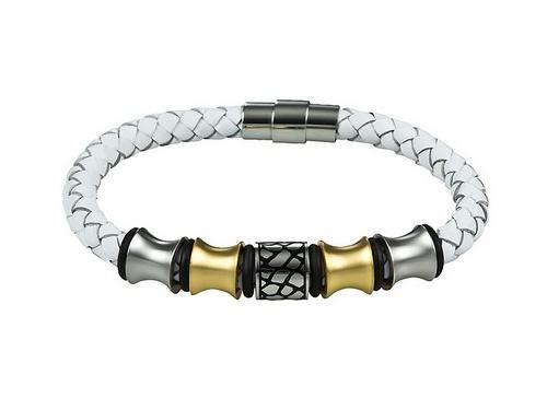 Schmuck-Armband Leder weiß geflochten Magnet-Verschluss Edelstahl von MABRO Steel - Bandlänge ca. 19cm