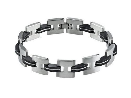 Schmuck-Armband Edelstahl silberfarben/schwarz Durchschub-Klappverschluss Edelstahl von MABRO Steel - Bandlänge ca. 21cm