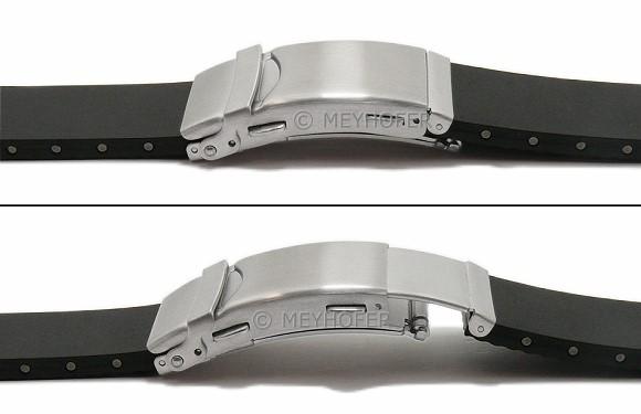 Uhrenarmband Greven 18mm schwarz Kautschuk Faltschliesse MEYHOFER