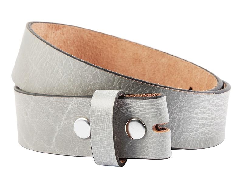 2019 original anerkannte Marken unverwechselbares Design Ledergürtel grau OHNE Schließe Druckknopf-System von LEONARDO VERRELLI -  Größe 100 (Breite ca. 4 cm)
