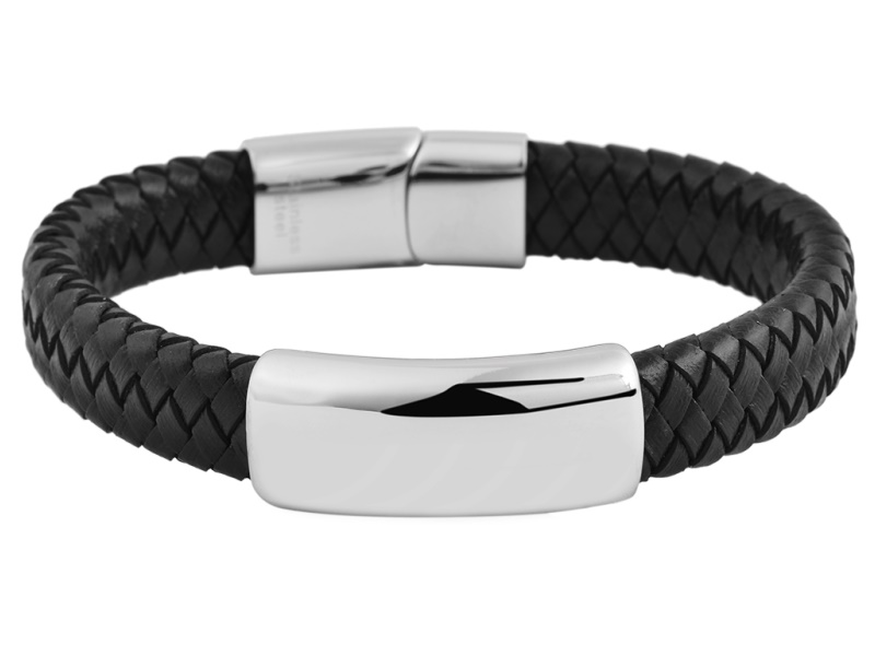 Baldessarini Armband Edelstahl Leder geflochten schwarz Schnapp Verschluss