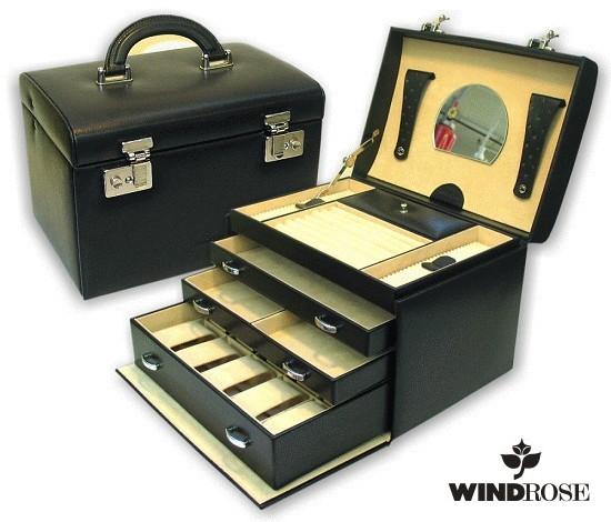 uhrenkoffer corona 10 uhren schwarz leder windrose. Black Bedroom Furniture Sets. Home Design Ideas